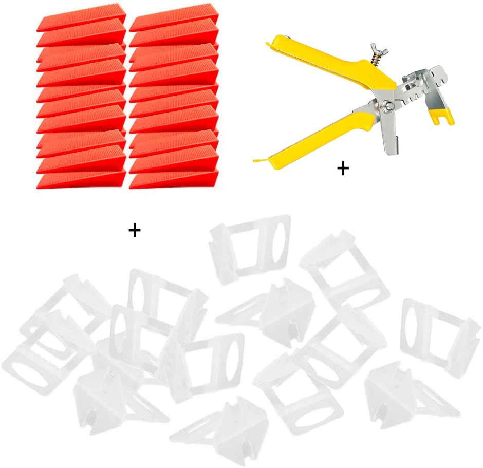 Niveladores de Azulejos 1mm - Sistema de Nivelación de Baldosas, 1 Alicate, 100 Cuñas Niveladoras para Suelo, 100 Espaciadores de 1 mm