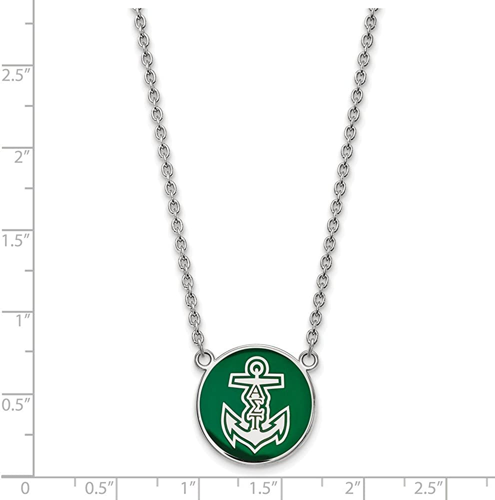 Greek Sororities Sterling Silver LogoArt Alpha Sigma Tau Large Enl Pend with Necklace Size One Size