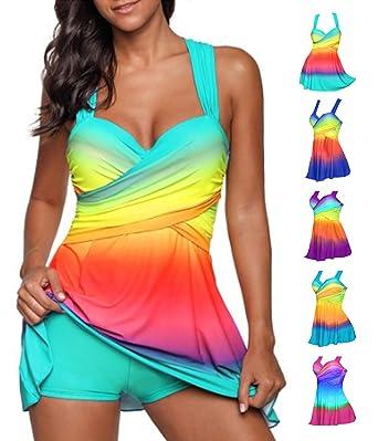 bce6f17eb5b452 Women 2Pcs Plus Size Tankini Swimsuit Rainbow Strappy Swimdress with Boyshorts  Swimwear Set(XXXX-