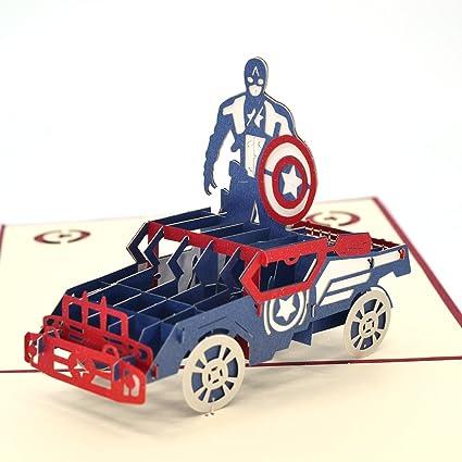 Amazon Com Pop Up Cards Dreamlevel 3d Superhreo Captain America