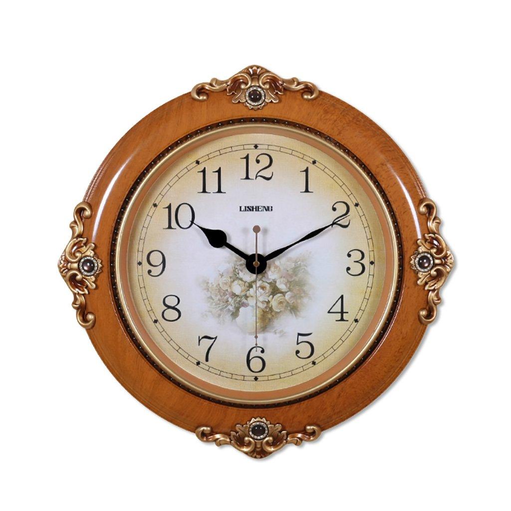 SESO UK- Design Europäische Kreativwand Uhr Wohnzimmer Hängende Quartz Runduhren (Farbe : Braun)