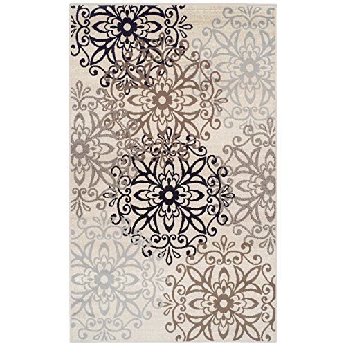 Superior Contemporary Leigh Collection Area Rug -Modern Area Rug, 8 mm Pile, Floral Medallion Design with Jute Backing, Beige, 8' x ()