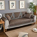 Furniture protector for pets dog kids All season Sectional slipcovers l shape U shape Anti-slip Sofa throw cover pad Cotton and linen Solid color with lace-1 piece-H 35x94inch(90x240cm)