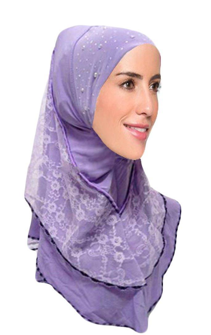 Hana's Womens 1 piece Instant Lace Hijab Scarf One Size Violet