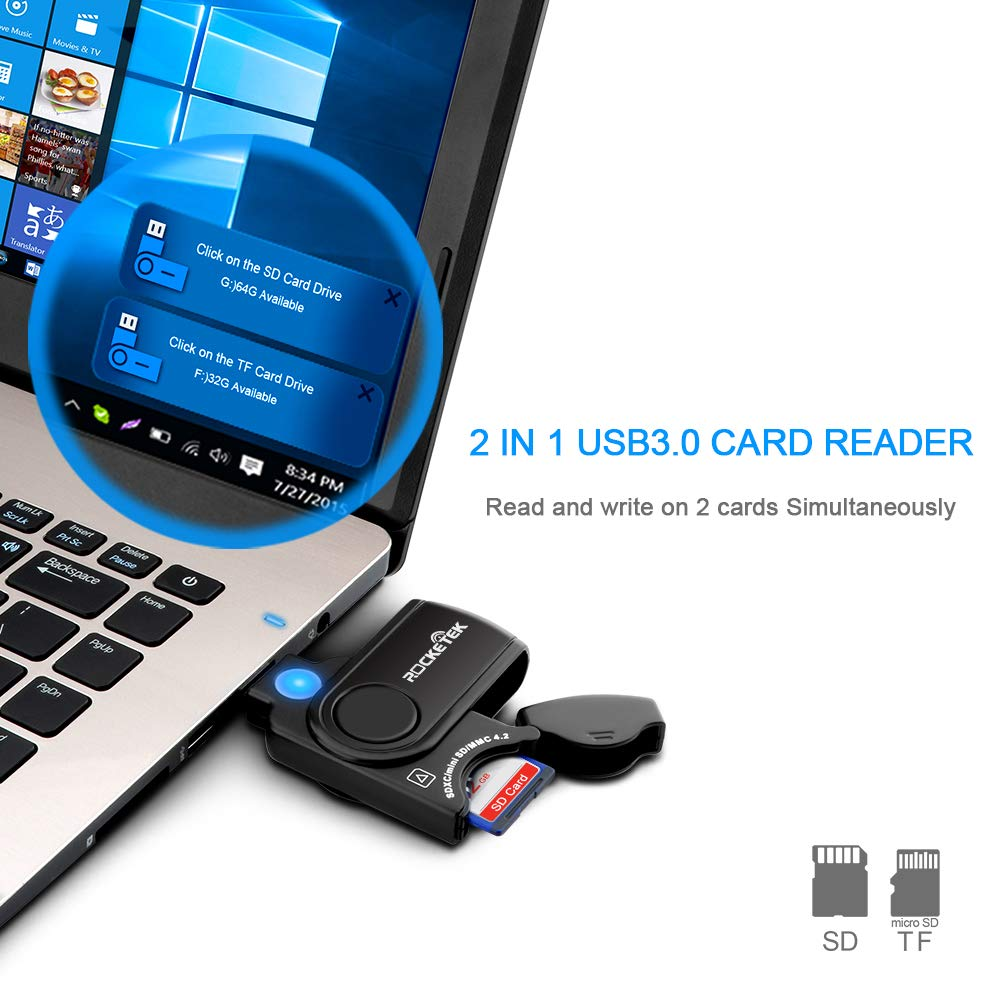 【Upgraded Version】XQD//SD Card Reader Adapter Rocketek USB C XQD Reader Compatible with Sony G//M Series USB Mark XQD Card Lexar 2933x//1400x USB Mark XQD Card,SD//SDHC Card for Windows//Mac OS.