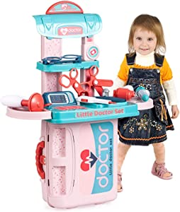 Doctor Kits for Kids Play Medical Set Toys Indoor Family Games Dress Up Costume Role Pretend Play Playset Gifts for Toddlers Boys Girls 3 4 5 6 Years Old