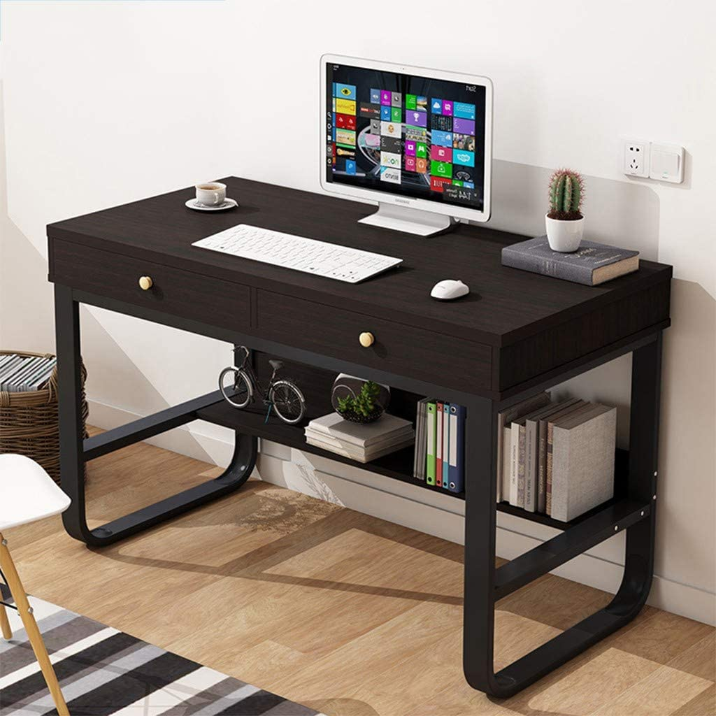 Ecurson Computer Desk,Modern Simple Metal Frame Table Creative Student  Laptop Writing Table with Double Drawers,for Bedroom,Living Room,Office