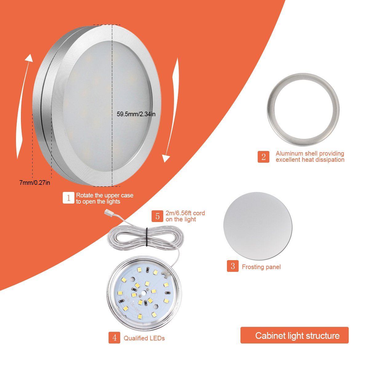 MEIKEE LED Under Cabinet Lighting Kit, Under Counter Lighting, 3000K Warm White, Kitchen Lighting (Set of 3)