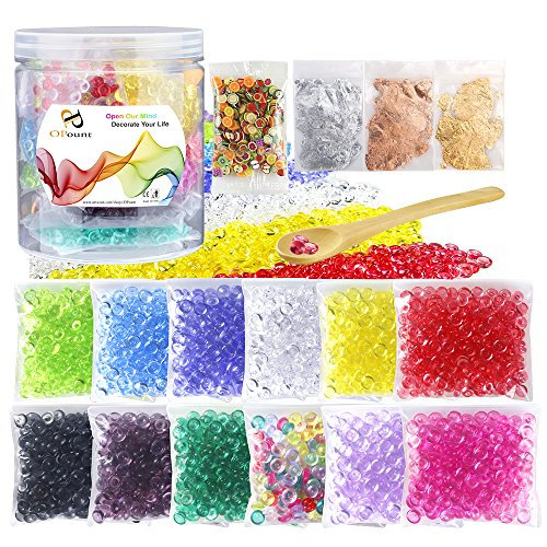 OPount 17 Pack Colorful Fishbowl Beads, Imitation Gold Leaf, Fruit Slices and Wooden Spoon for Slime Making Art DIY Craft(Not Contain (Gold Slice)