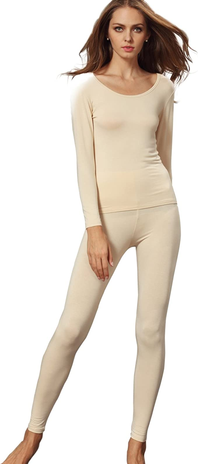 Womens Slim Scoop Neck Thermal Underwear Set Stretch Comfy Base Layer Long Johns