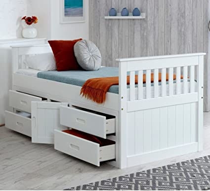 Happy Beds Captains Wooden White Pine Storage Bed Drawers Cupboard Bedroom Furniture Frame 3 Single 90 X 190 Cm Amazon Co Uk Kitchen Home