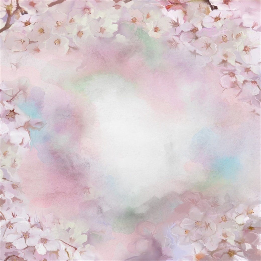 5x5FT Vinyl Backdrop Photographer,Paint,Blooming Petals Spring Season Background for Baby Shower Bridal Wedding Studio Photography Pictures