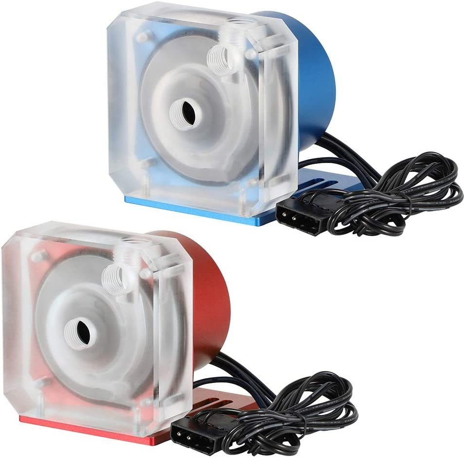 4PIN PWM Pump Ultra Quiet 1100L // H Flow 4000rpm 50,000 Hours Operating Time PC Water Cooling Pumps with G1 // 4 Thread Red