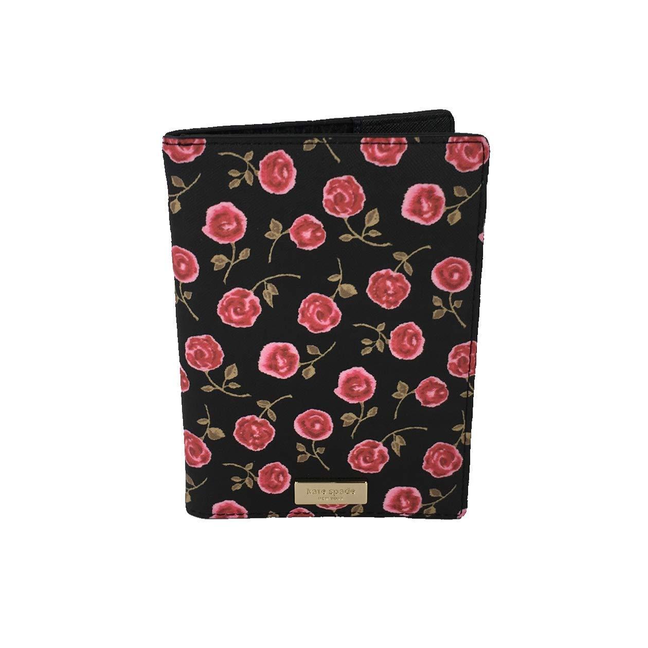Kate Spade Hazy Rose Imogene Passport Holder, Black (Rose printed) by Kate Spade New York