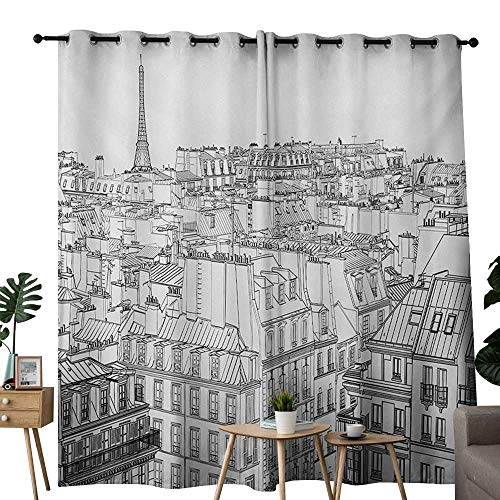 NUOMANAN Blackout Curtain Panels Window Draperies Paris,Architecture Theme Design Illustration of Roofs in Paris and Eiffel Tower Print,Black and White,for Bedroom, Kitchen, Living Room 54