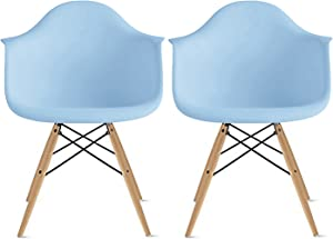 2xhome Set of 2 Blue Mid Century Modern Contemporary Vintage Molded Shell Designer with Arms Plastic Eiffel Chairs Natural Wood Legs DAW Dining Accent Conference Room Desk Ergonomic No Wheels