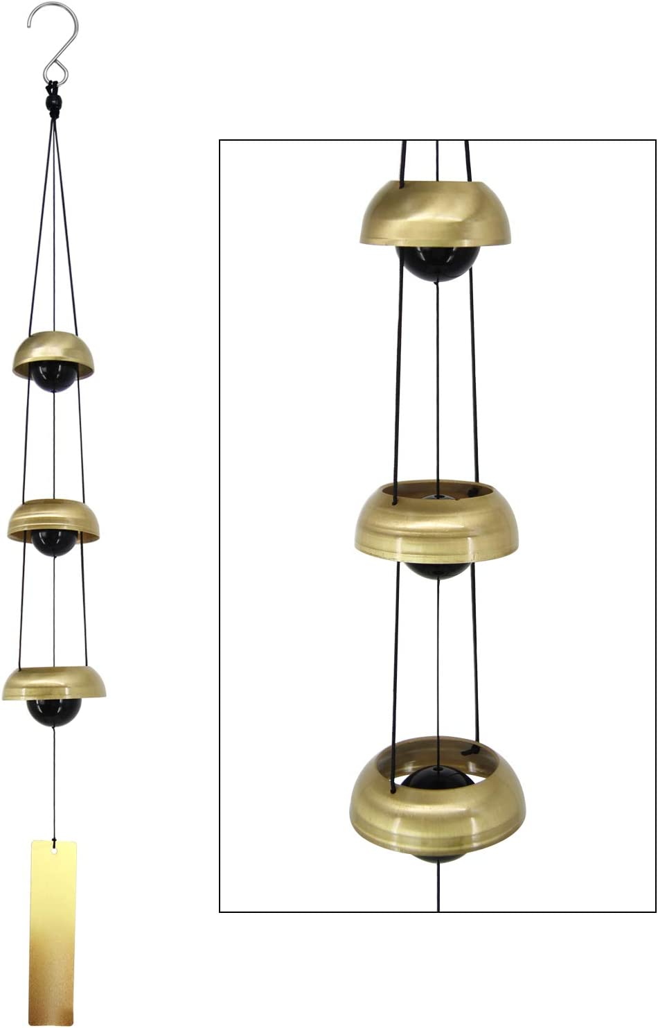 ASTARIN Copper Wind Chimes, Temple Wind Chime with 3 Bells, Feng Shui Wind Chimes for Home Yard Outdoor Decoration, A Great Memorial Wind Chime for Someone who Loves Peace