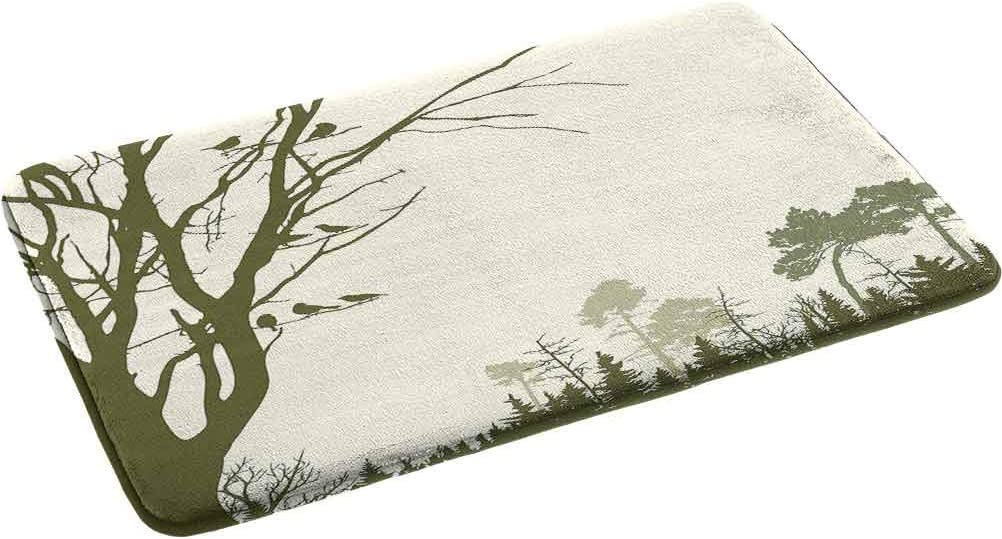 Forest Non-Slip Memory Foam Bath Mat, Nature Theme The Panorama of a Forest Pattern Birds on Tree Branches Print 2' x 2.92' Perfect Plush Carpet Mats for Bath Room