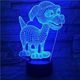 Gift Ideas Dog LED Night Lights 3D Illusion Lamp Animal Light Led Desk Lamps Unique Anniversary Gifts for Baby Home Decor Office Bedroom Wedding Party Decorations Nursery Lighting 7 Color (puppy)