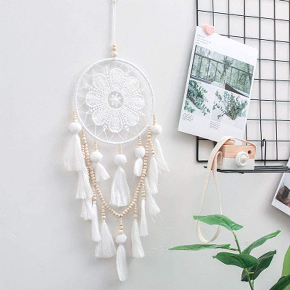 Car Mirror Hanging Accessories Car Hanging Dream Catcher American Indian Styles Hanging Decor Craft Gifts Handmade Feathers Dream catcher with LED Light String Car Rearview Mirror Ornaments