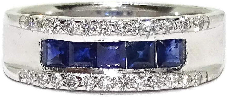 Never Say Never Anillo de Oro Blanco de 18k con 0.15cts de Diamantes y 0.78cts de zafiros