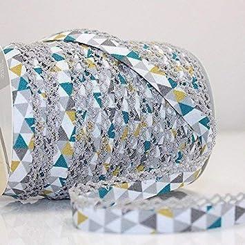 Higgs & Higgs - Triángulo Geométrico Borde de Encaje de Puntilla Bies - Verde Amarillo/Gris Borde 609/09 - Algodón Borde Moderno Estampado Estrellas - Verde, 25m Roll: Amazon.es: Hogar