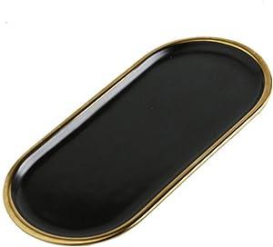 Jewelry Organizer Marble Style Oval Dessert Plate Bathroom Kitchen Dresser Vanity Tray Jewelry Dish Ring Holder Cosmetic Organizer Home Decor Wedding Gift Ceramic Decorative Food Serving Tray (Black)