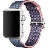 Apple Watch Armband Pinhen Neueste Fine Woven Nylon Gurt Ersatz Handgelenk Uhrband Uhrenarmband Erstatzband Uhren-Armband für Apple Watch Series 2 und Series 1 (38MM Pink)
