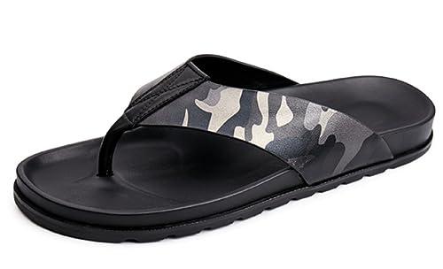 bbb0a956f HAPPYSHOP Mens Slip On Slipper Rubber Flip-Flops Thick-Sole Anti-Slip  Leather