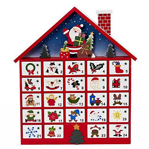 Kurt Adler C6300 Wooden Santa House Advent Calendar W/O Ornaments, 16-Inch