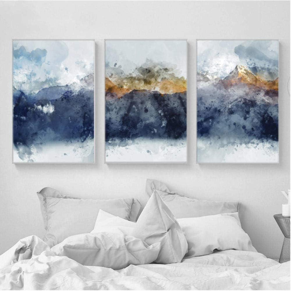 ELMSART Impresiones de Arte Abstracto Pintura Azul Marino Amarillo Color Dorado Lámina de Pared Carteles Montañas Arte de Pared Imágenes para Sala de Estar 40x60cmx3 sin Marco
