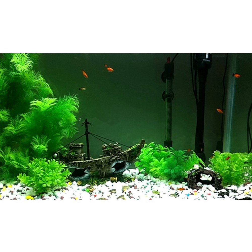 ... Boat Aquarium Ornament Hiding Cave Aquarium Sailing Boat Plastic Landscape Decoration Plant for Fish Tank Accessories(14x5.5x12cm) : Pet Supplies
