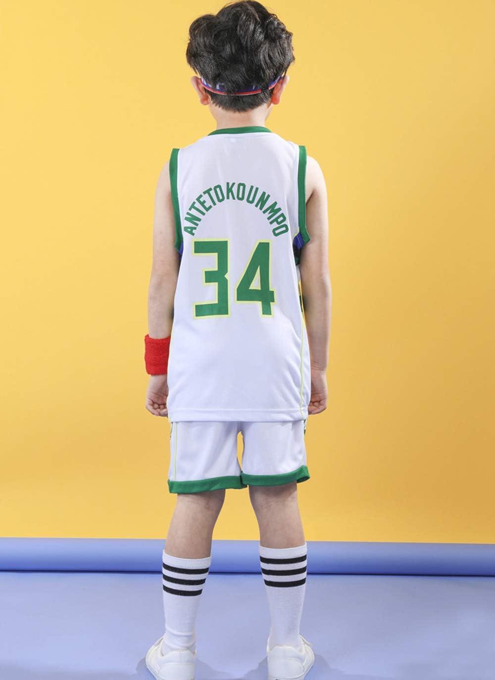 Gar/çons Filles Maillots De Basketball Bucks 34# Antetokounmpo Short de Basketball Retro Maillots d/ét/é Uniforme de Basket-Ball Gilets /& Shorts