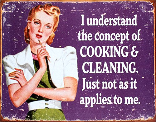 Cooking and Cleaning Tin Sign 16 x - Cleaning Tin Sign