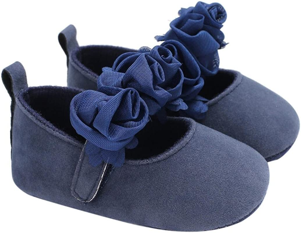 WARMSHOP Baby Infant Girls Hand-Made Flower Soft Sole Hook /& Loop Crib Prewalker Shoes