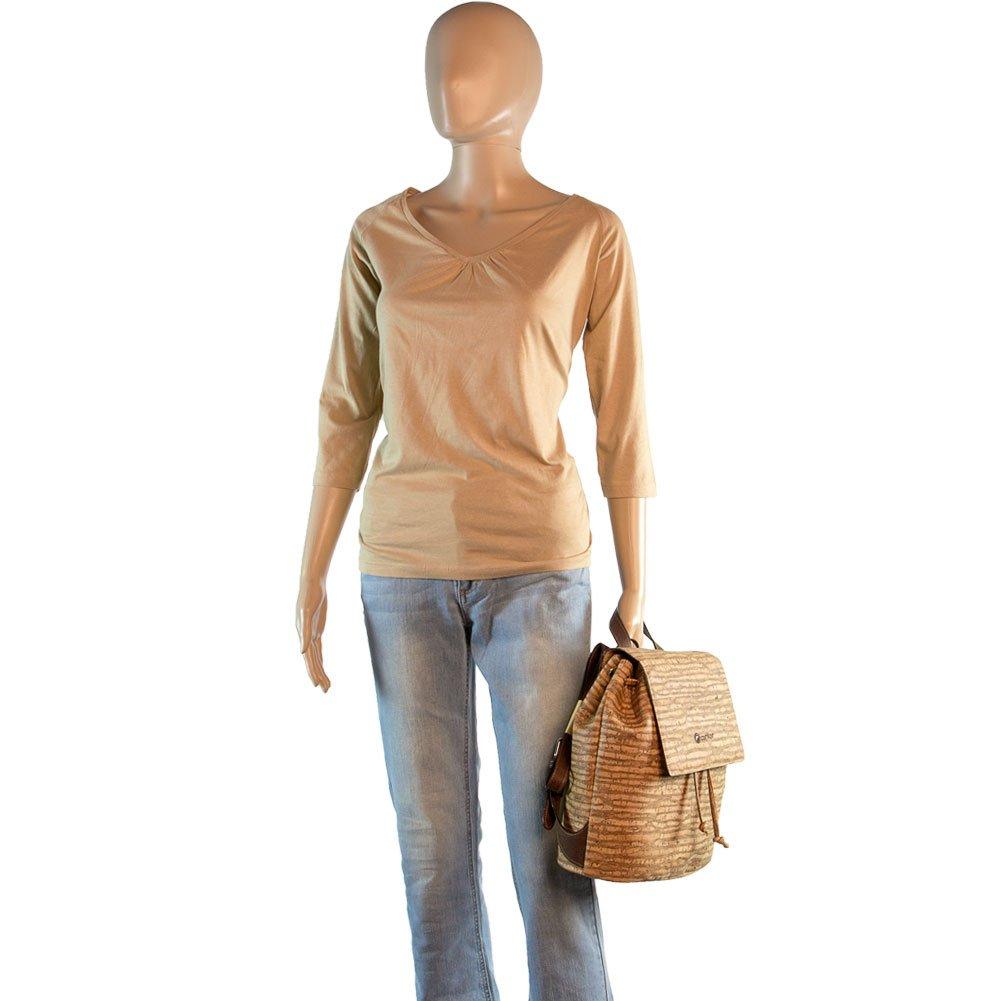 Corkor Cork Backpack - Vegan Handbag For Women Top Flap Back Pack Travel School Natural Zebra by Corkor (Image #7)