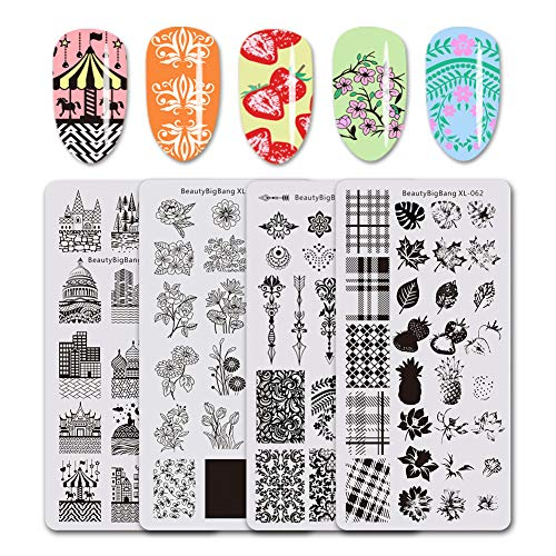 BEAUTYBIGBANG 4PCS Stamping Plates Set Building Lattice Leaves Flowers Nail Art Stamp Template Image Plates Manicure ()