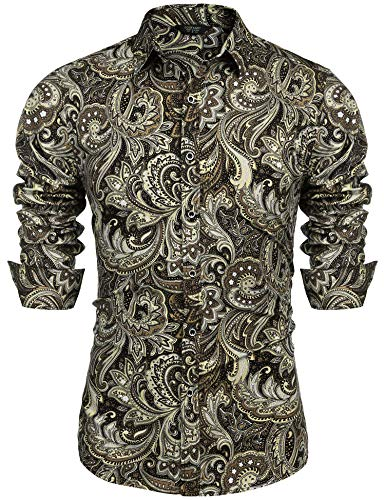 COOFANDY Men's Floral Print Button Down Casual Long Sleeve H