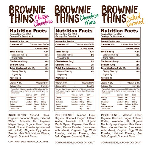 Lillabee Brownie Thins Variety Pack, Paleo Friendly, Gluten Free, Low Carb, Healthy Snacks, High Protein, Crunchy Cookies , Grain free, No Dairy, No Soy 4oz bag (Variety, 3 Pack)