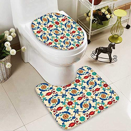 SOCOMIMI Lid Toilet Cover Nostalgic Islamic Art Motifs Floral Ornaments Baroque Inspirations Ethnic Design Multi Personalized Durable by SOCOMIMI