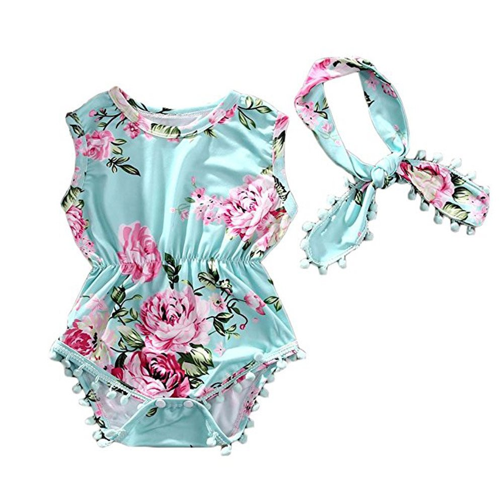 Cute Adorable Floral Romper Baby Girls Sleeveless Tassel Romper One-pieces +Headband Sunsuit Outfit Clothes (6-12 Months, Green)
