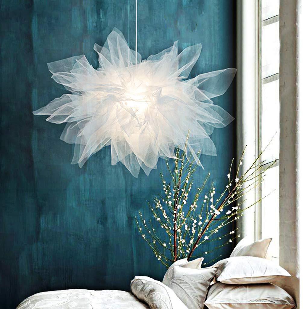 Modern Mesh Stoff Pendelleuchte Textil Lampenschirm Runden Kreative Design Hängeleuchte e27 Hängelampe für Wohnzimmer Schlafzimmer Esszimmer Weiß