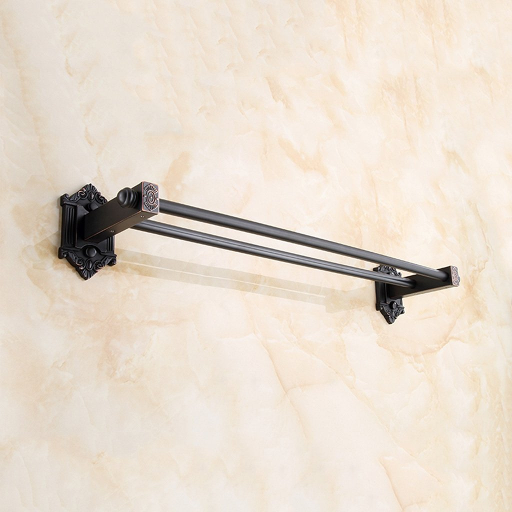 SPLY DTEM Black Bathroom Thick Wall Hanging Towel Bar, Multi-Function Antique Creative Towel Rack 60cm Tower Hanger