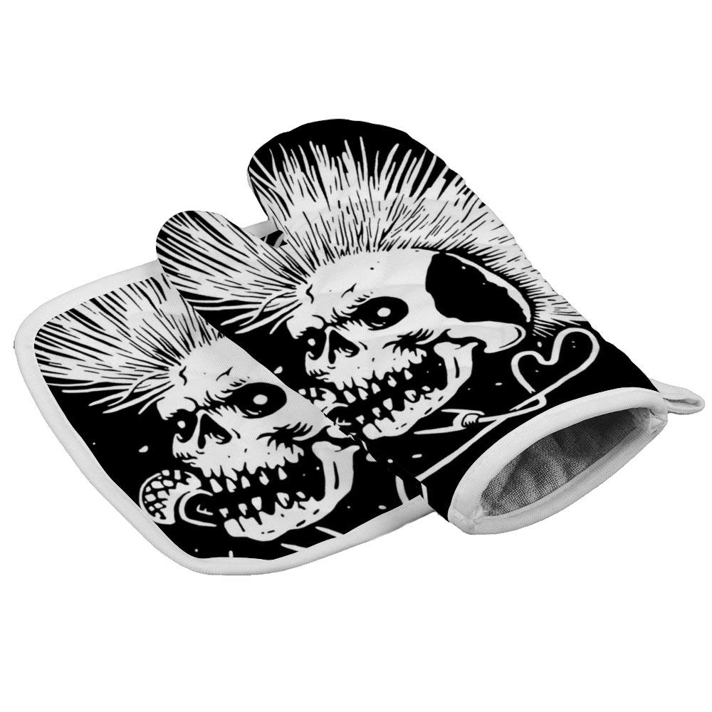 Bargburm Skull Punk Music Neoprene Oven Mitts Square mat, Heat Resistant Oven Gloves to Protect Hands and Surfaces with Non-Slip Grip