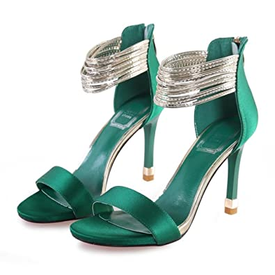 Hyun Times Europe and The United States Fine With Open-toed Sandals Fashion Green High Heels