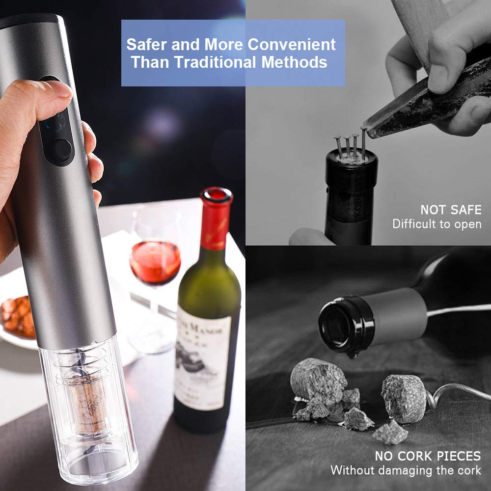 Bambud Electric Wine Bottle Opener Battery Powered Cordless Stainless Steel Automatic Corkscrew Wine Bottle Opener with Foil Cutter by Bambud (Image #5)