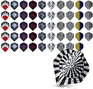 kwmobile Dart Flights 50 Pieces - Mixed Design Standard Flight Pack for Steel or Soft Tip Darts - 5 of Each De