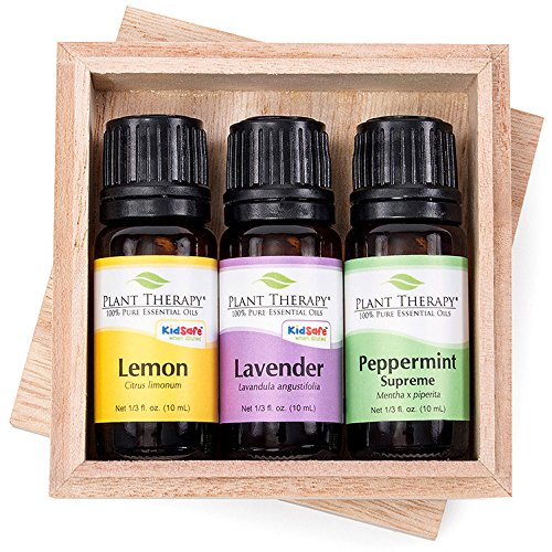 Plant Therapy Lemon, Lavender and Peppermint Gift Set. 100% Pure, Undiluted, Therapeutic Grade Essential Oils. 10 ml (1/3 oz) each.