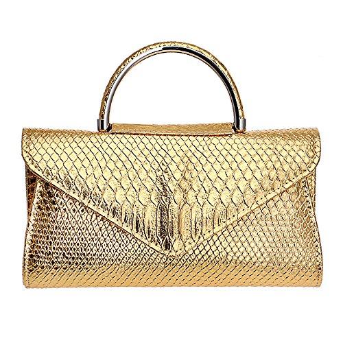 ZAMAC - Cartera de mano para mujer, dorado (Dorado) - ZAMAC-ClutchBag18-gold dorado