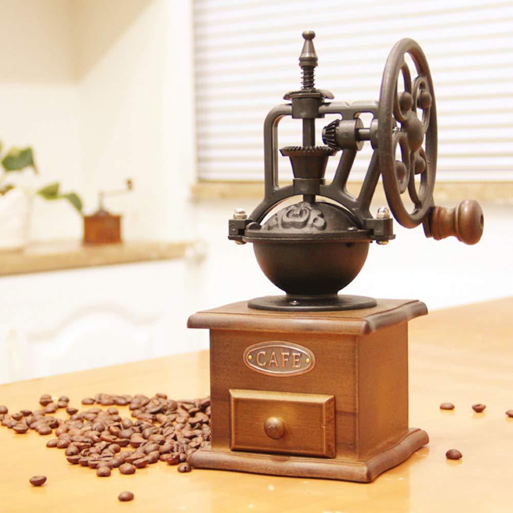 Rrunzfon Manuelle Kaffeem/ühle Haus geformt Mini-Kurbel Kaffeem/ühle Eisen Kartentyp Vintage-Stil aus Holz Kaffeem/ühle Zubeh/ör Schwarz 1Set